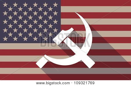 Long Shadow Vector Usa Flag Icon With  The Communist Symbol