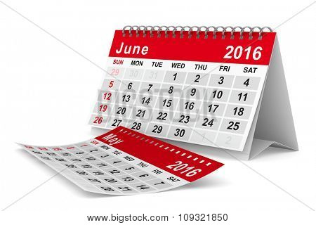2016 year calendar. June. Isolated 3D image
