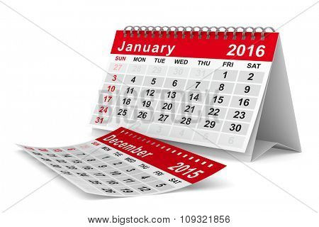 2016 year calendar. January. Isolated 3D image