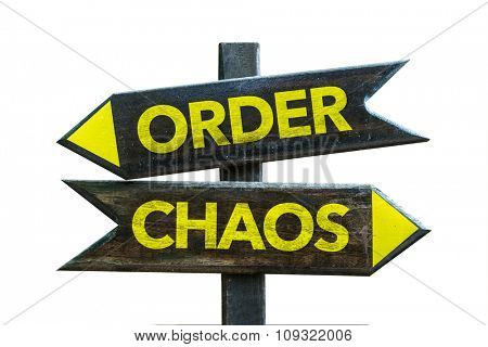 Order - Chaos signpost isolated on white background