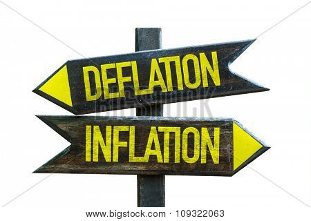 Deflation - Inflation signpost isolated on white background