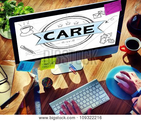Care Protect Secure Healthcare Service Concept
