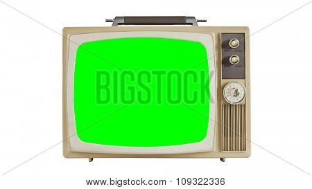 Vintage television on white with green screen.