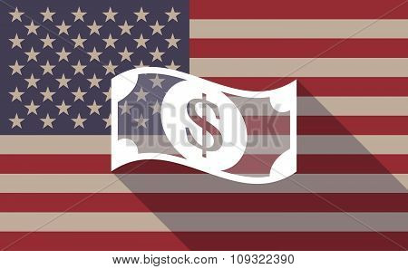 Long Shadow Vector Usa Flag Icon With A Dollar Bank Note