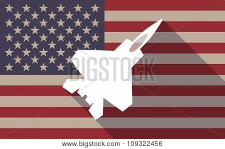 Long Shadow Vector Usa Flag Icon With A Combat Plane