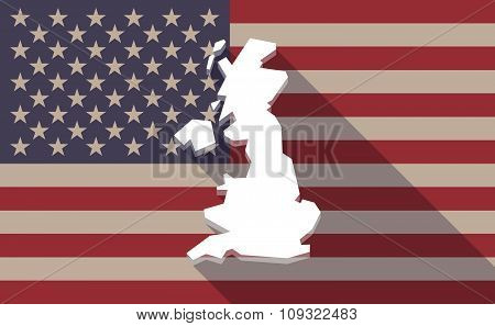 Long Shadow Vector Usa Flag Icon With  A Map Of The Uk