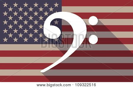Long Shadow Vector Usa Flag Icon With An F Clef
