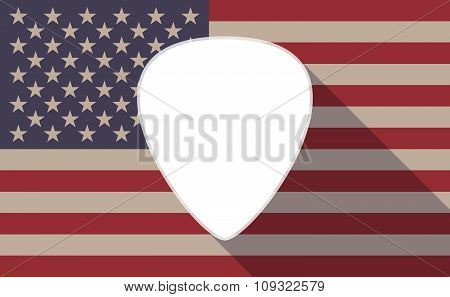 Long Shadow Vector Usa Flag Icon With A Plectrum