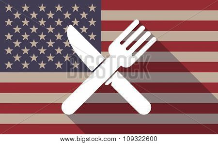 Long Shadow Vector Usa Flag Icon With A Knife And A Fork