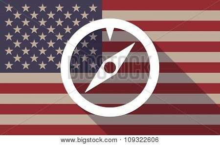 Long Shadow Vector Usa Flag Icon With A Compass