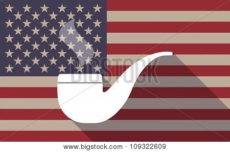 Long Shadow Vector Usa Flag Icon With A Smoking Pipe