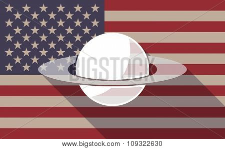 Long Shadow Vector Usa Flag Icon With The Planet Saturn