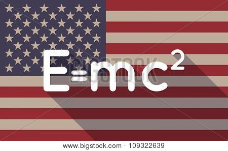 Long Shadow Vector Usa Flag Icon With The Theory Of Relativity Formula