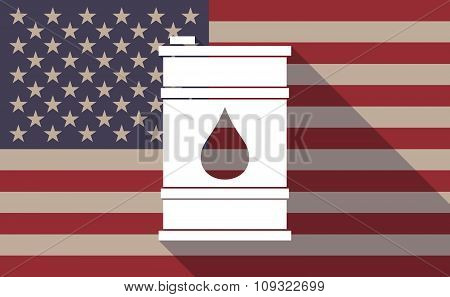 Long Shadow Vector Usa Flag Icon With A Barrel Of Oil