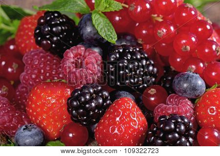 Fresh Berries With Mint Leaves