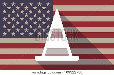 Long Shadow Vector Usa Flag Icon With A Road Cone
