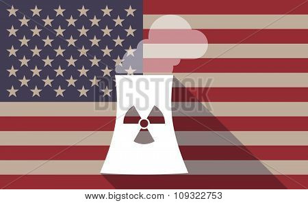 Long Shadow Vector Usa Flag Icon With A Nuclear Power Station