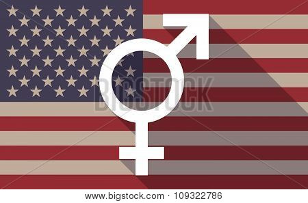 Long Shadow Vector Usa Flag Icon With A Transgender Symbol