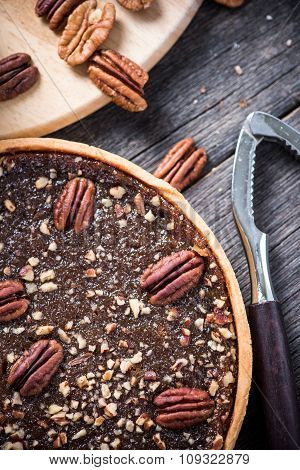 Pecan Pie, Nut Crusher On Table