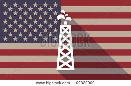 Long Shadow Vector Usa Flag Icon With An Oil Tower
