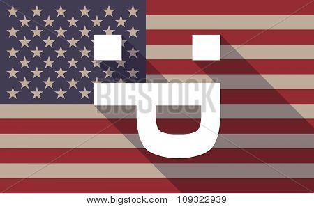 Long Shadow Vector Usa Flag Icon With A Sticking Out Tongue Text Face