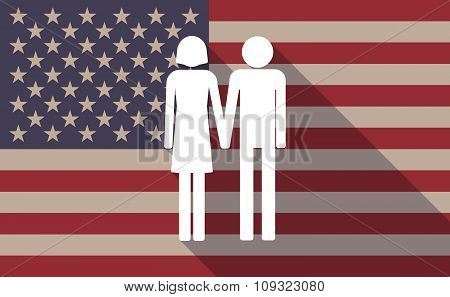 Long Shadow Vector Usa Flag Icon With A Heterosexual Couple Pictogram