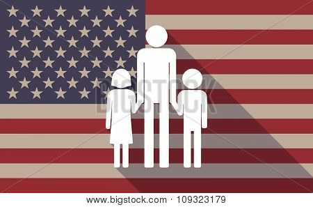 Long Shadow Vector Usa Flag Icon With A Male Single Parent Family Pictogram