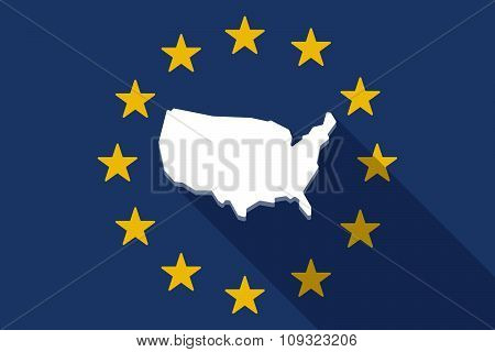 European Union  Long Shadow Flag With  A Map Of The Usa