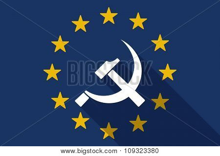 European Union  Long Shadow Flag With  The Communist Symbol