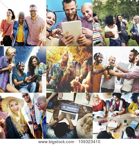 Collage Friendship Bonding Memories Happiness People Concept