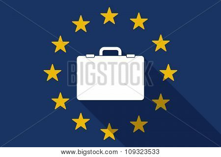 European Union  Long Shadow Flag With  A Breiefcase