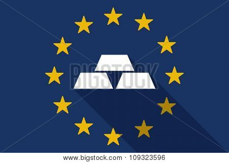 European Union  Long Shadow Flag With Three Gold Bullions
