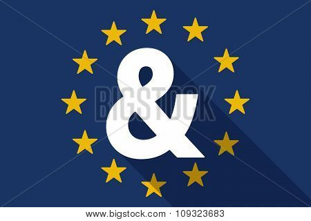 European Union  Long Shadow Flag With An Ampersand
