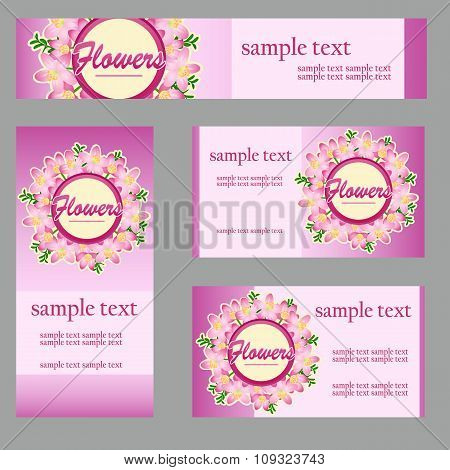Set of cards with floral disign in the same style and different size and shape for your business nee