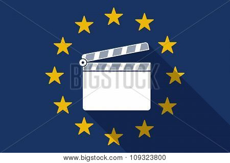 European Union  Long Shadow Flag With A Clapperboard