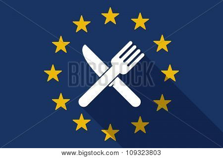 European Union  Long Shadow Flag With A Knife And A Fork