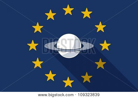 European Union  Long Shadow Flag With The Planet Saturn