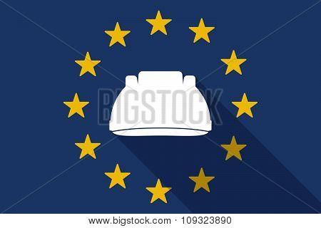 European Union  Long Shadow Flag With A Work Helmet