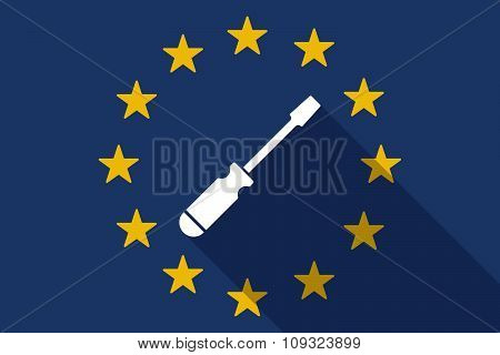 European Union  Long Shadow Flag With A Screwdriver