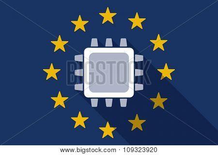 European Union  Long Shadow Flag With A Cpu