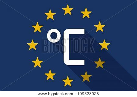 European Union  Long Shadow Flag With  A Celsius Degree Sign