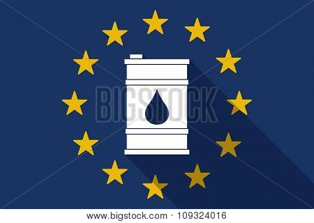 European Union  Long Shadow Flag With A Barrel Of Oil