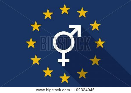 European Union  Long Shadow Flag With A Transgender Symbol