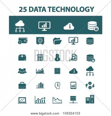 database, technology, system administrator, computer network, connection icons, signs vector concept set for infographics, mobile, website, application
