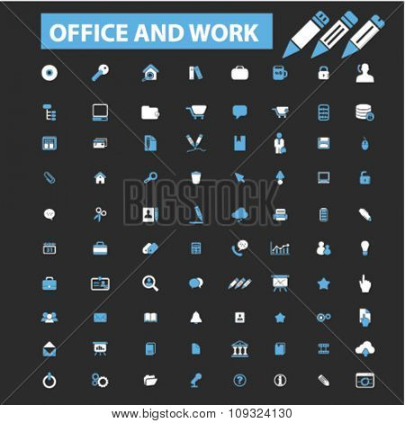 office work web  icons, signs vector concept set for infographics, mobile, website, application