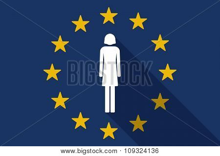 European Union  Long Shadow Flag With A Female Pictogram