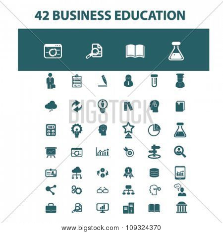 business education, training, webinar  icons, signs vector concept set for infographics, mobile, website, application