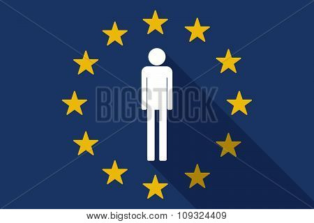 European Union  Long Shadow Flag With A Male Pictogram