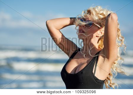 Sexy Woman On The Sea Shore