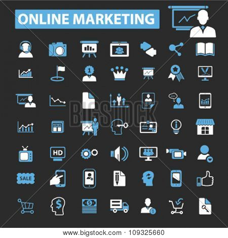 online marketing, digital advertising, video, image, brainstorm  icons, signs vector concept set for infographics, mobile, website, application